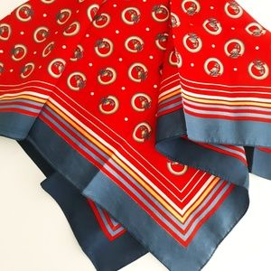 Vintage Red & Blue Mod Novelty Print Italian Scarf